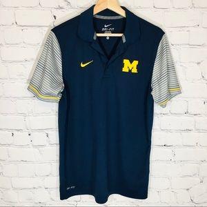 NIKE U of M Michigan SS Dri Fit Polo Shirt MEDIUM